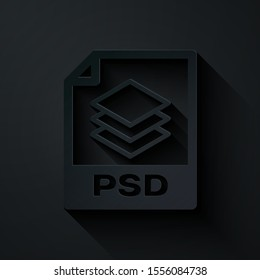 Paper cut PSD file document. Download psd button icon isolated on black background. PSD file symbol. Paper art style. Vector Illustration