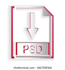 Paper cut PSD file document icon. Download PSD button icon isolated on white background. Paper art style. Vector.