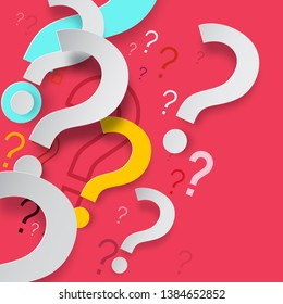 Paper Cut Question Marks on Red Background. Mystery or FAQ Backdrop Vector Design.
