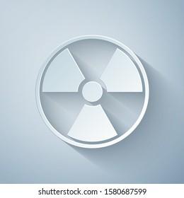 Paper cut Radioactive icon isolated on grey background. Radioactive toxic symbol. Radiation Hazard sign. Paper art style. Vector Illustration