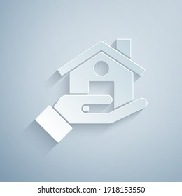 Paper cut Realtor icon isolated on grey background. Buying house. Paper art style. Vector.