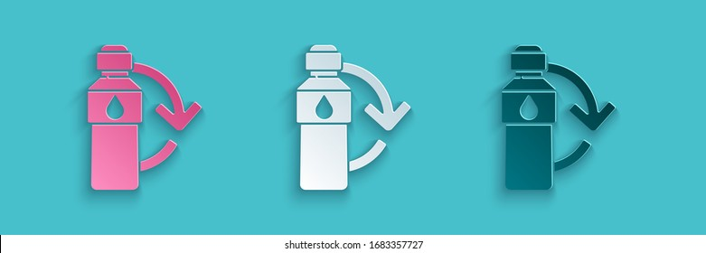Paper cut Recycling plastic bottle icon isolated on blue background. Paper art style. Vector Illustration