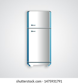 Paper cut Refrigerator icon isolated on grey background. Fridge freezer refrigerator. Household tech and appliances. Paper art style. Vector Illustration