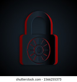 Paper cut Safe combination lock wheel icon isolated on black background. Combination padlock. Security, safety, protection, password, privacy. Paper art style. Vector Illustration