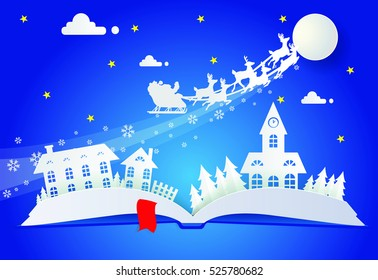 paper cut santa of merry christmas and happy new year, pop up book.