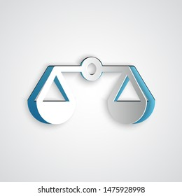 Paper cut Scales of justice icon isolated on grey background. Court of law symbol. Balance scale sign. Paper art style. Vector Illustration