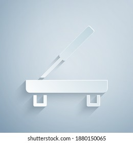 Paper cut Scented spa stick on a wooden stand icon isolated on grey background. Incense stick. Cosmetic procedure aromatherapy. Paper art style. Vector.