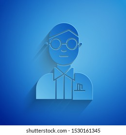 Paper cut Scientist icon isolated on blue background. Paper art style. Vector Illustration