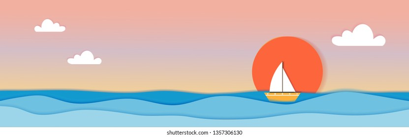 Paper cut seascape with steam boat and sunset in evening, Vector illustration,Panorama seascape origami paper art style with blue ocean, Landscape Spring and Suummer background