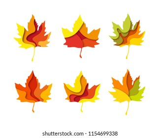 Paper cut set of autumn maple leaves shape 3D design. Template of lettering for postcard, banner, poster, placard.  Colorful vector illustration.