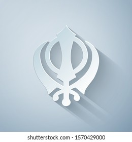 Paper cut Sikhism religion Khanda symbol icon isolated on grey background. Khanda Sikh symbol. Paper art style. Vector Illustration
