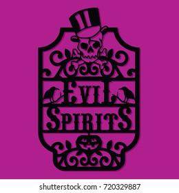 Paper Cut Silhouette Halloween Evil Spirits Vintage Frame Label