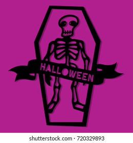 Paper Cut Silhouette Halloween Skull In Coffin