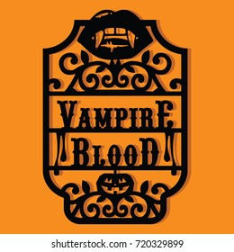 Paper Cut Silhouette Halloween Vampire Blood Vintage Frame Label