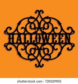 Paper Cut Silhouette Halloween Vintage Ornate Swirl