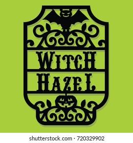 Paper Cut Silhouette Halloween Witch Hazel Vintage Frame Label