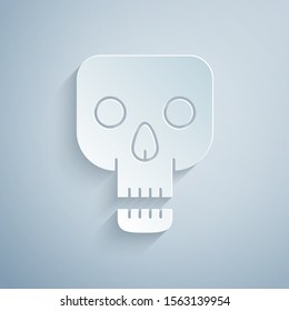 Paper cut Skull icon isolated on grey background. Happy Halloween party. Paper art style. Vector Illustration