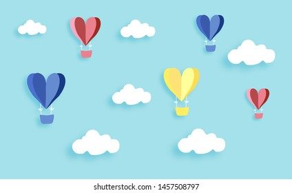 paper cut sky clouds and colorful balloons with blue background vectors illustration