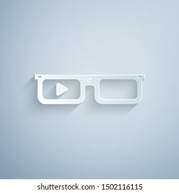 Paper cut Smart glasses mounted on spectacles icon isolated on grey background. Wearable electronics smart glasses with camera and display. Paper art style. Vector Illustration