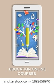 Paper cut smartphone with open book, tree of knowledge, science and school symbols, vector illustration. Online education, remote studying, distance learning, online courses.