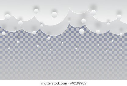 Paper cut snow clouds in the sky on transparent backdrop for merry christmas and happy new year holiday background, winter border for your design, paper cut, paper craft art style, vector illustration