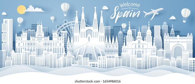 Paper cut of Spain landmark, travel and tourism concept, eps 10 vector.
