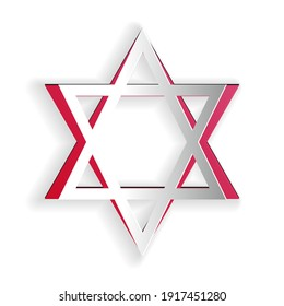 Paper cut Star of David icon isolated on white background. Jewish religion symbol. Paper art style. Vector.