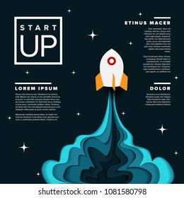 Paper cut startup infographic poster template with space rocket - dark version