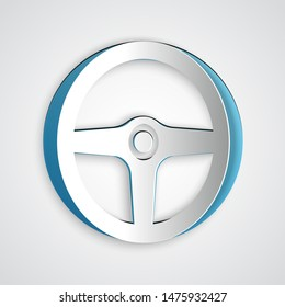 Paper cut Steering wheel icon isolated on grey background. Car wheel icon. Paper art style. Vector Illustration