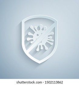 Paper cut Stop virus, bacteria, germs and microbe icon isolated on grey background. Antibacterial and antiviral defence, protection infection. Paper art style. Vector Illustration