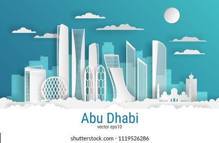 Paper cut style Abu Dhabi city, white color paper, vector stock illustration. Cityscape with all famous buildings. Skyline Abu Dhabi city composition for design