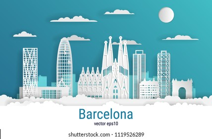 Paper cut style Barcelona city, white color paper, vector stock illustration. Cityscape with all famous buildings. Skyline Barcelona city composition for design