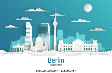 Paper cut style Berlin city, white color paper, vector stock illustration. Cityscape with all famous buildings. Skyline Berlin city composition for design