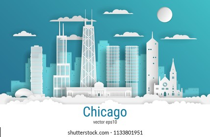 Paper cut style Chicago city, white color paper, vector stock illustration. Cityscape with all famous buildings. Skyline Chicago city composition for design