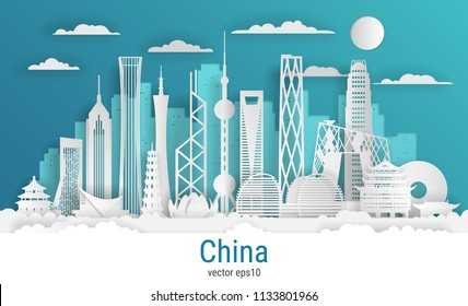 Paper cut style China city, white color paper, vector stock illustration. Cityscape with all famous buildings. Skyline China city composition for design