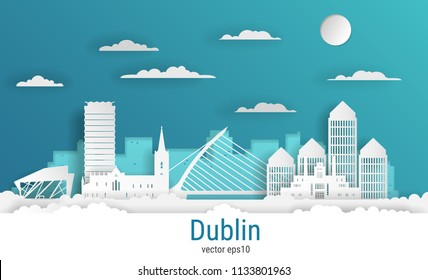Paper cut style Dublin city, white color paper, vector stock illustration. Cityscape with all famous buildings. Skyline Dublin city composition for design