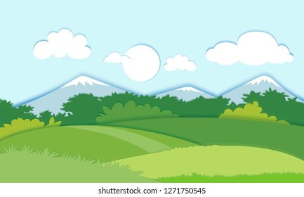 Paper cut style of field landscape, Paper art spring field or Summer landscape with blue sky, panorama flat cartoon on spring, vector illustration. - Vector