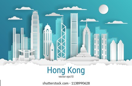 Paper cut style Hong Kong city, white color paper, vector stock illustration. Cityscape with all famous buildings. Skyline Hong Kong city composition for design