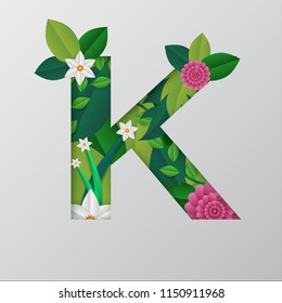 Paper cut style with illustration of K alphabet made by beautiful floral design.