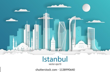 Paper cut style Istanbul city, white color paper, vector stock illustration. Cityscape with all famous buildings. Skyline Istanbul city composition for design