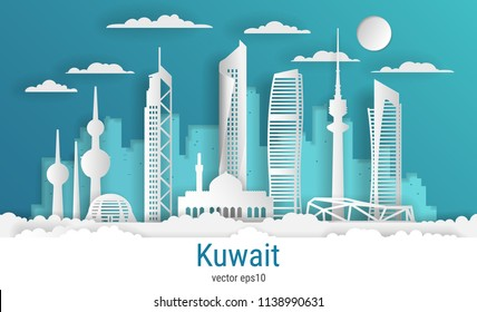 Paper cut style Kuwait city, white color paper, vector stock illustration. Cityscape with all famous buildings. Skyline Kuwait city composition for design