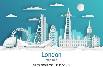 Paper cut style London city, white color paper, vector stock illustration. Cityscape with all famous buildings. Skyline London city composition for design