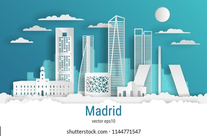 Paper cut style Madrid city, white color paper, vector stock illustration. Cityscape with all famous buildings. Skyline Madrid city composition for design