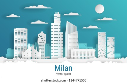 Paper cut style Milan city, white color paper, vector stock illustration. Cityscape with all famous buildings. Skyline Milan city composition for design