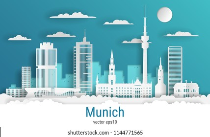 Paper cut style Munich city, white color paper, vector stock illustration. Cityscape with all famous buildings. Skyline Munich city composition for design