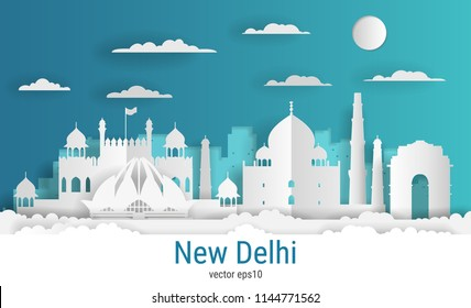 Paper cut style New Delhi city, white color paper, vector stock illustration. Cityscape with all famous buildings. Skyline New Delhi city composition for design