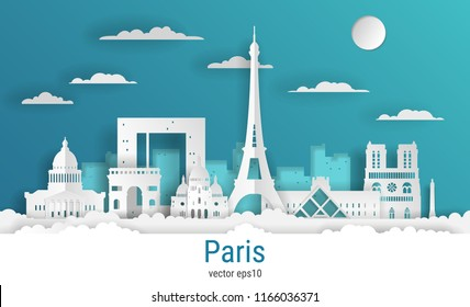 Paper cut style Paris city, white color paper, vector stock illustration. Cityscape with all famous buildings. Skyline Paris city composition for design