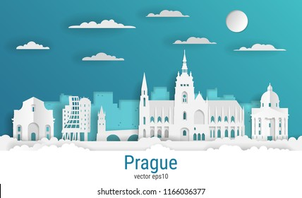 Paper cut style Prague city, white color paper, vector stock illustration. Cityscape with all famous buildings. Skyline Prague city composition for design