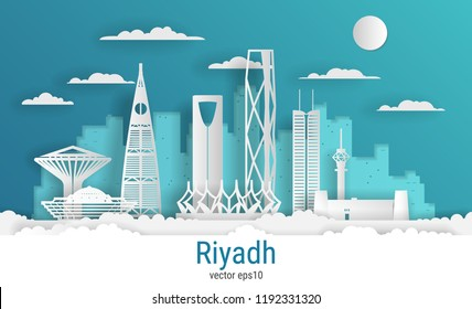 Paper cut style Riyadh city, white color paper, vector stock illustration. Cityscape with all famous buildings. Skyline Riyadh city composition for design