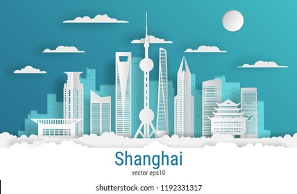 Paper cut style Shanghai city, white color paper, vector stock illustration. Cityscape with all famous buildings. Skyline Shanghai city composition for design